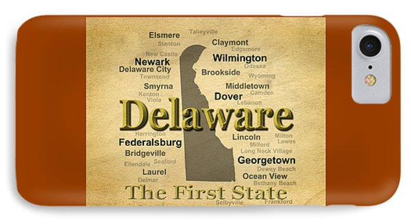 Aged Delaware State Pride Map Silhouette  IPhone Case by Keith Webber Jr