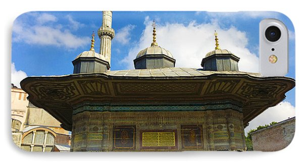 Ahmet II Fountain Next To Topkapi Palace Main Entry With A Minaret Of Hagia Sophia Palace Istanbul  Phone Case by Ralph A  Ledergerber-Photography