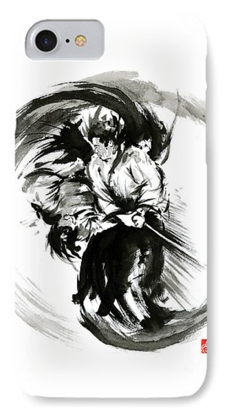 Aikido Techniques Martial Arts Sumi-e Black White Round Circle Design Yin Yang Ink Painting Watercol IPhone Case by Mariusz Szmerdt