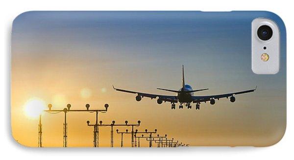 Airplane Landing At Sunset, Canada IPhone Case by David Nunuk