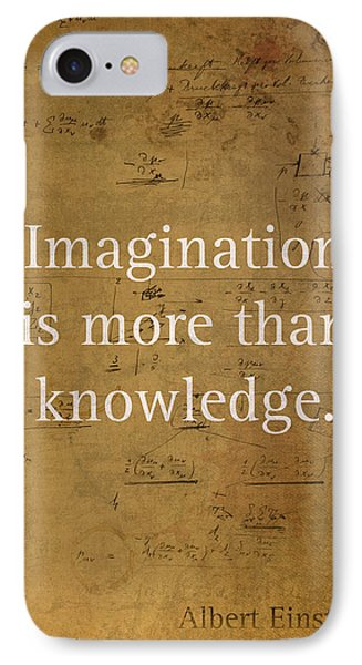 Albert Einstein Quote Imagination Science Math Inspirational Words On Worn Canvas With Formula IPhone Case by Design Turnpike
