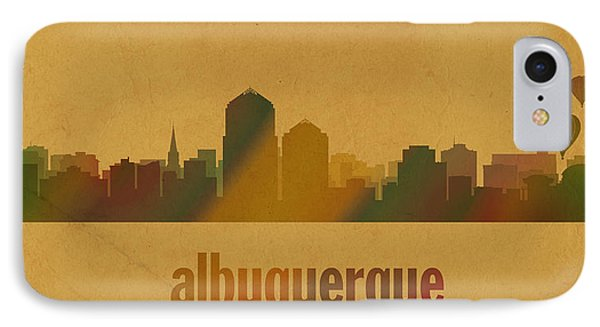 Albuquerque New Mexico City Skyline Watercolor On Parchment IPhone Case by Design Turnpike