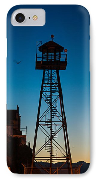 Alcatraz Guard Tower IPhone Case by Steve Gadomski