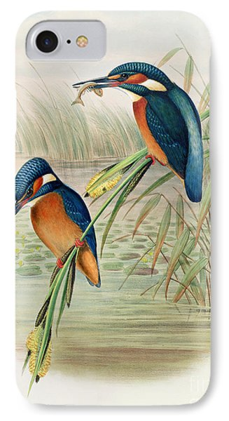 Alcedo Ispida Plate From The Birds Of Great Britain By John Gould IPhone 7 Case by John Gould William Hart