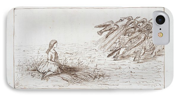 Alice Frightens Away The Birds IPhone Case by British Library