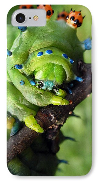 Alien Nature Cecropia Caterpillar Phone Case by Christina Rollo