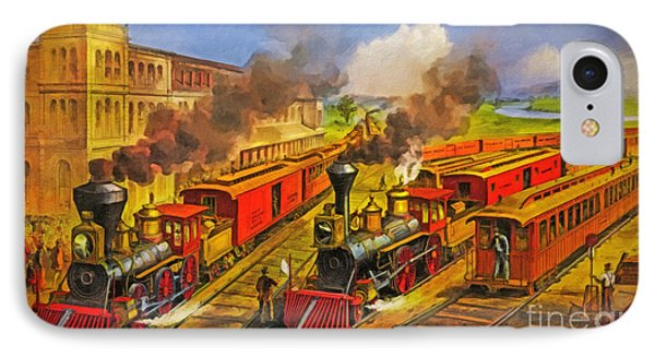 All Aboard The Lightning Express 1874 Phone Case by Lianne Schneider
