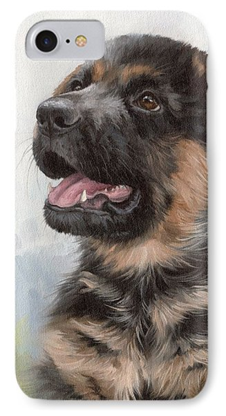 Alsatian Puppy Painting IPhone Case by Rachel Stribbling