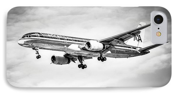 Amercian Airlines 757 Airplane In Black And White IPhone Case by Paul Velgos