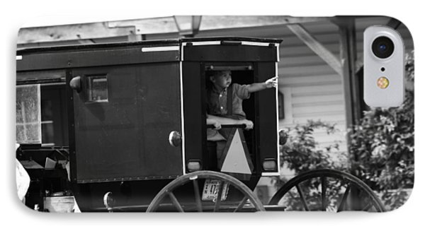 Amish Boy Waving In Horse And Buggy IPhone Case by Dan Sproul