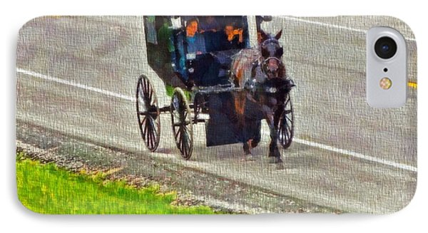 Amish Family In Horse And Buggy IPhone Case by Dan Sproul