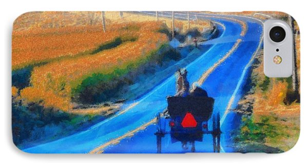 Amish Horse And Buggy In Autumn IPhone Case by Dan Sproul