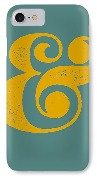 Ampersand Poster Blue And Yellow IPhone 7 Case by Naxart Studio