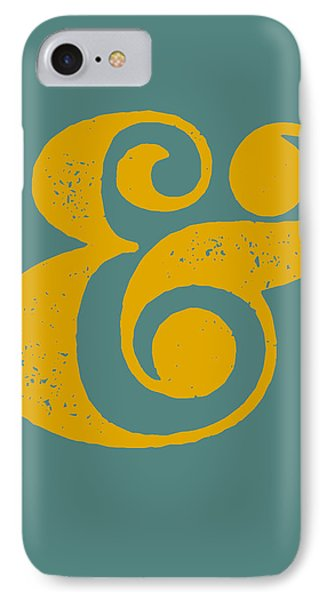 Ampersand Poster Blue And Yellow IPhone Case by Naxart Studio