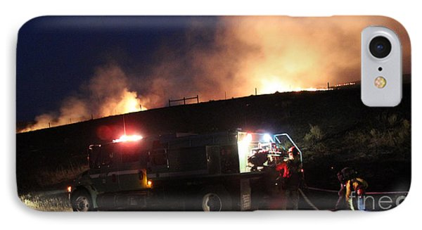 IPhone Case featuring the photograph An Engine Crew Works At Night On White Draw Fire by Bill Gabbert