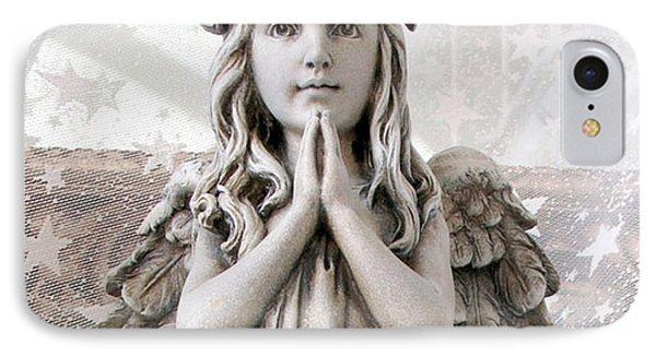 Angel Girl Praying - Christian Angel Art - Little Girl Praying Angel Art - God Answers Prayers IPhone Case by Kathy Fornal