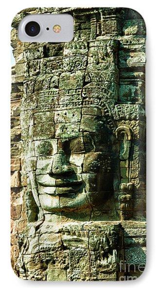Angkor Bayon Stone Carving Cambodia Phone Case by Fototrav Print