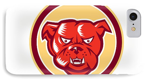 Angry Bulldog Mongrel Head Circle Retro Phone Case by Aloysius Patrimonio