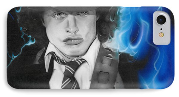 Angus Young - ' Angus ' IPhone Case by Christian Chapman Art