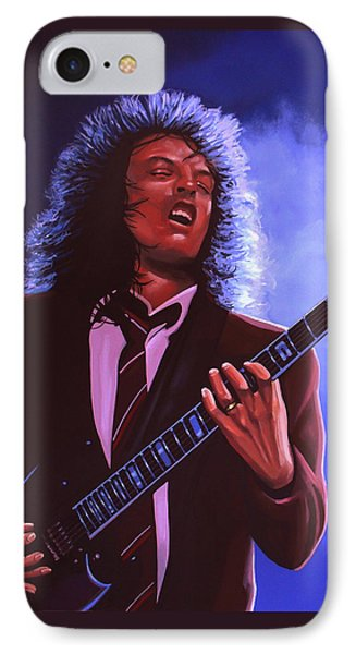 Angus Young Of Ac / Dc IPhone Case by Paul Meijering