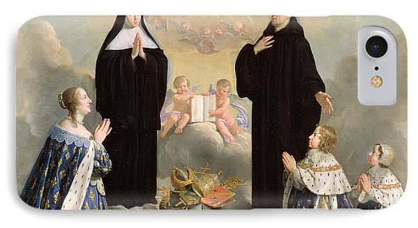 Anne Of Austria 1601-66 And Her Children At Prayer With St. Benedict And St. Scholastica, 1646 Oil IPhone Case by Philippe de Champaigne