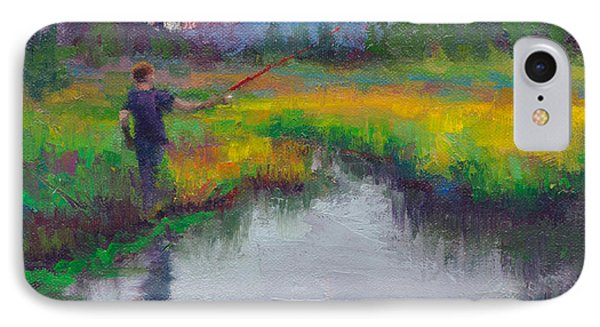 Another Cast - Fishing In Alaskan Stream IPhone Case by Talya Johnson