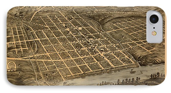 Antique Bird's-eye View Map Of Knoxville Tennessee 1871 IPhone Case by Mountain Dreams