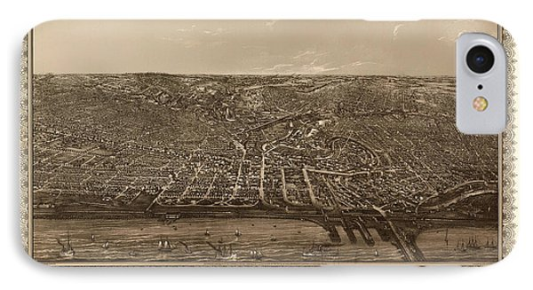 Antique Map Of Cleveland Ohio 1887 IPhone Case by Mountain Dreams