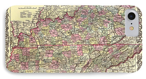 Antique Map Of Kentucky And Tennessee IPhone Case by Mountain Dreams