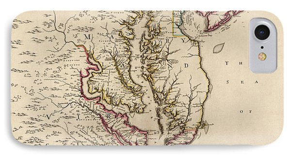 Antique Map Of Maryland And Virginia By John Senex - 1719 IPhone Case by Blue Monocle