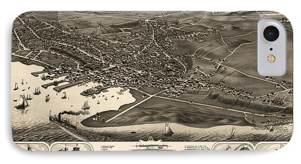 Antique Map Of Nantucket Massachusetts By J.j. Stoner - 1881 IPhone Case by Blue Monocle