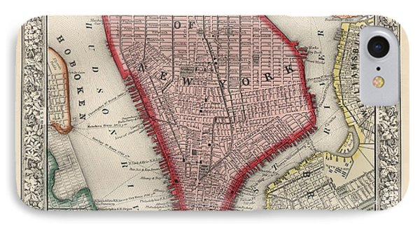 Antique Map Of New York City By Samuel Augustus Mitchell - 1863 IPhone Case by Blue Monocle
