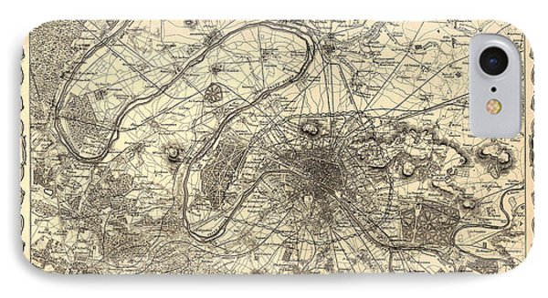 Antique Map Of Paris 1855 IPhone Case by Mountain Dreams