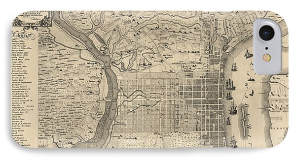 Antique Map Of Philadelphia By P. C. Varte - 1875 IPhone 7 Case by Blue Monocle