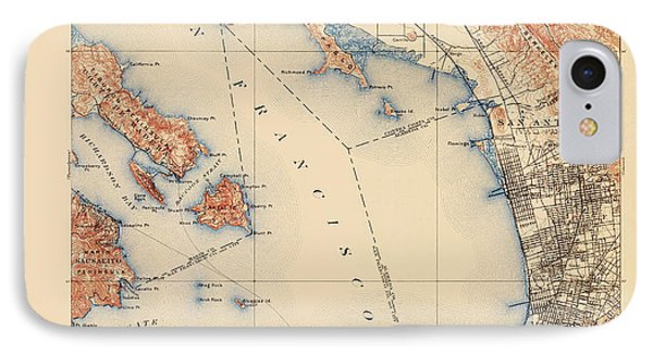 Antique Map Of San Francisco And The Bay Area - Usgs Topographic Map - 1899 IPhone Case by Blue Monocle