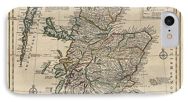 Antique Map Of Scotland By Emanuel Bowen - 1752 IPhone Case by Blue Monocle
