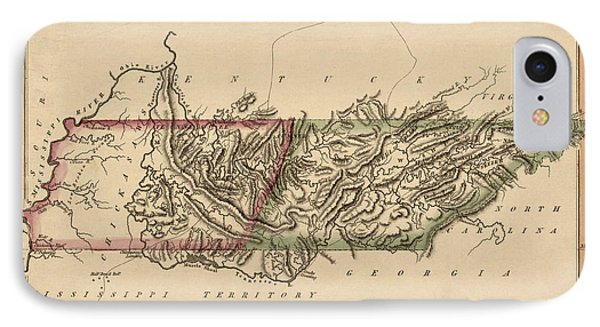 Antique Map Of Tennessee By Fielding Lucas - Circa 1817 Phone Case by Blue Monocle