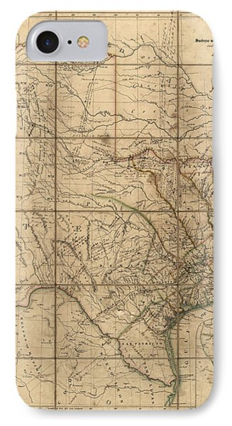 Antique Map Of Texas By John Arrowsmith - 1841 IPhone 7 Case by Blue Monocle