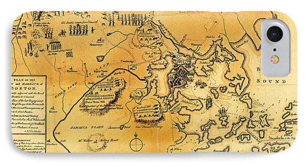 Antique Map Of The Battles Of Lexington And Concord 1775 IPhone Case by Mountain Dreams
