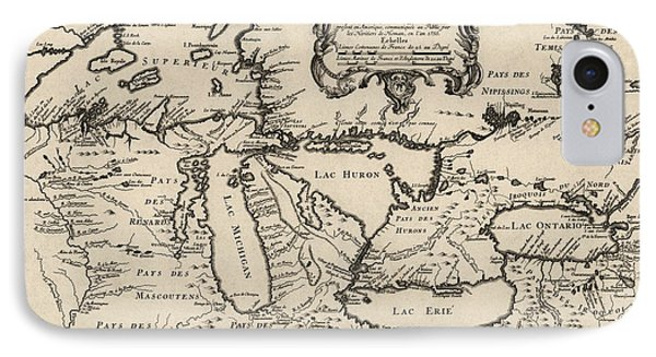 Antique Map Of The Great Lakes By Jacques Nicolas Bellin - 1755 IPhone 7 Case by Blue Monocle