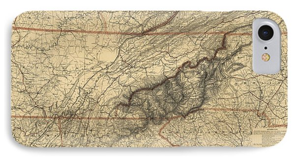 Antique Map Of The Great Smoky Mountains - North Carolina And Tennessee - By W. L. Nickolson - 1864 IPhone Case by Blue Monocle