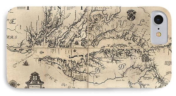 Antique Map Of Virginia And Maryland By Augustine Herrman - 1673 IPhone Case by Blue Monocle