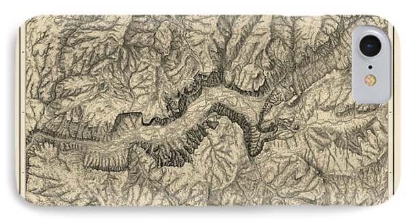 Antique Map Of Yosemite National Park By George M. Wheeler - Circa 1884 IPhone Case by Blue Monocle