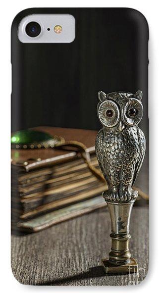 Antique Owl Seal IPhone Case by Amanda Elwell