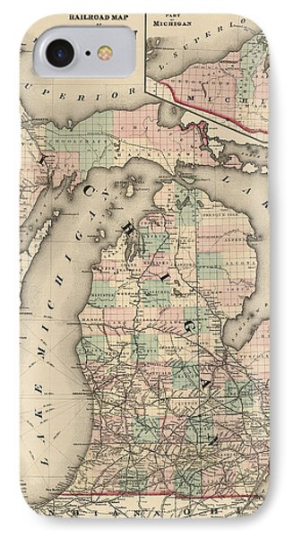 Antique Railroad Map Of Michigan By Colton And Co. - 1876 IPhone 7 Case by Blue Monocle