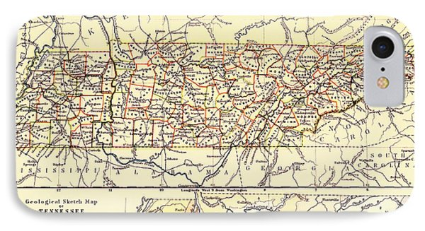 Antique State Of Tennessee Map 1888 IPhone Case by Mountain Dreams