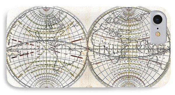 Antique World Map Harmonie Ou Correspondance Du Globe 1659 Phone Case by Karon Melillo DeVega