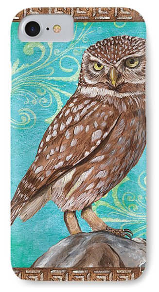 Aqua Barn Owl Phone Case by Debbie DeWitt