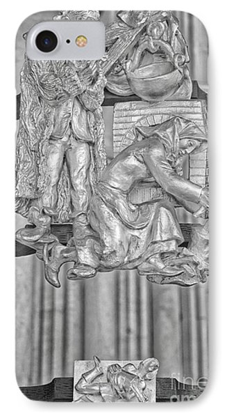 Aquarius Zodiac Sign - St Vitus Cathedral - Prague - Black And White IPhone Case by Ian Monk