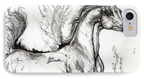 Arabian Horse Drawing 1 Phone Case by Angel  Tarantella